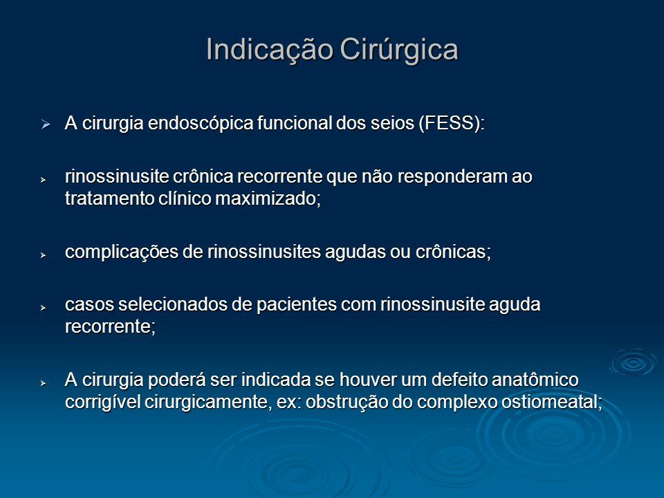 Indicação Cirúrgica A cirurgia endoscópica funcional dos seios (FESS):
