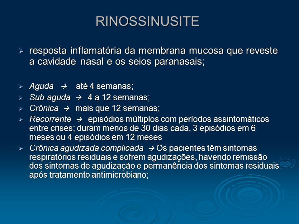 RINOSSINUSITE resposta inflamatória da membrana mucosa que reveste a cavidade nasal e os seios paranasais;