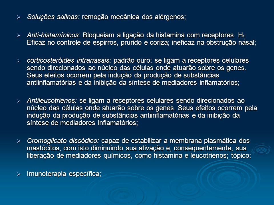 Soluções salinas: remoção mecânica dos alérgenos;