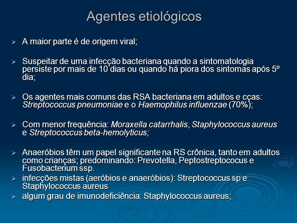 Agentes etiológicos A maior parte é de origem viral;