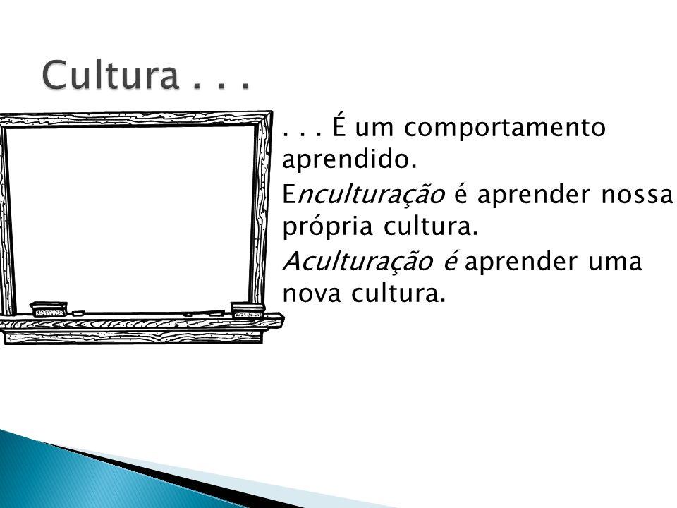 Cultura . . . . . . É um comportamento aprendido.