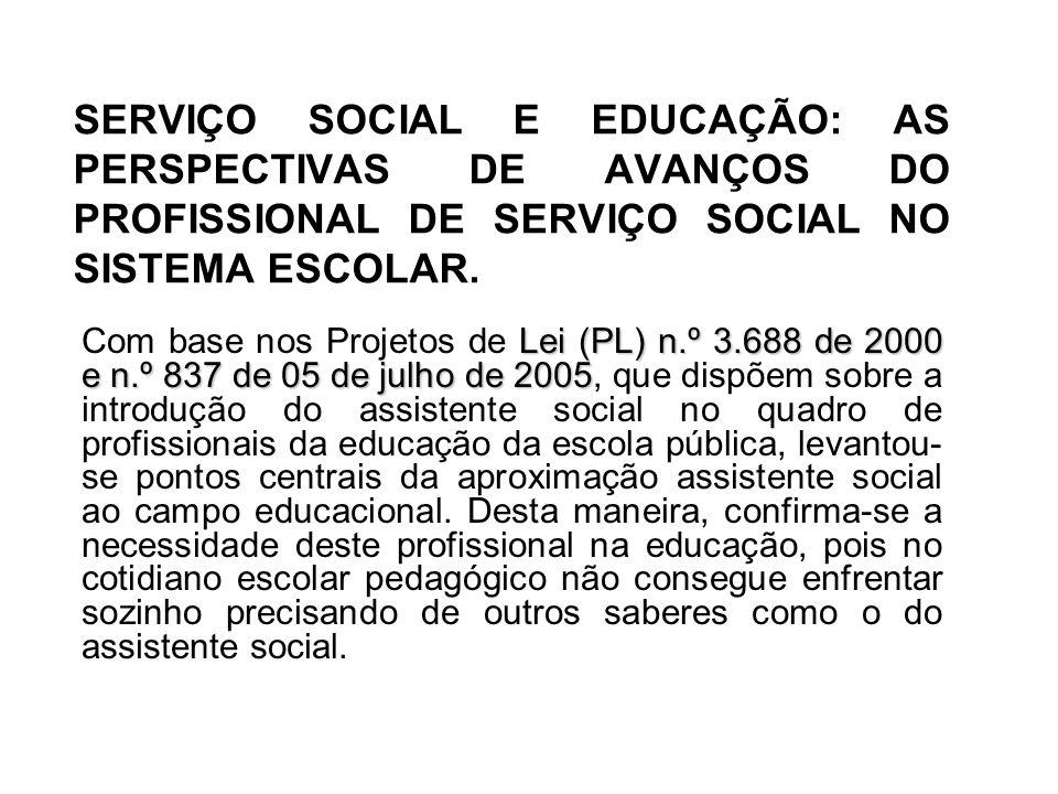 SERVIÇO SOCIAL E EDUCAÇÃO: AS PERSPECTIVAS DE AVANÇOS DO PROFISSIONAL DE SERVIÇO SOCIAL NO SISTEMA ESCOLAR.