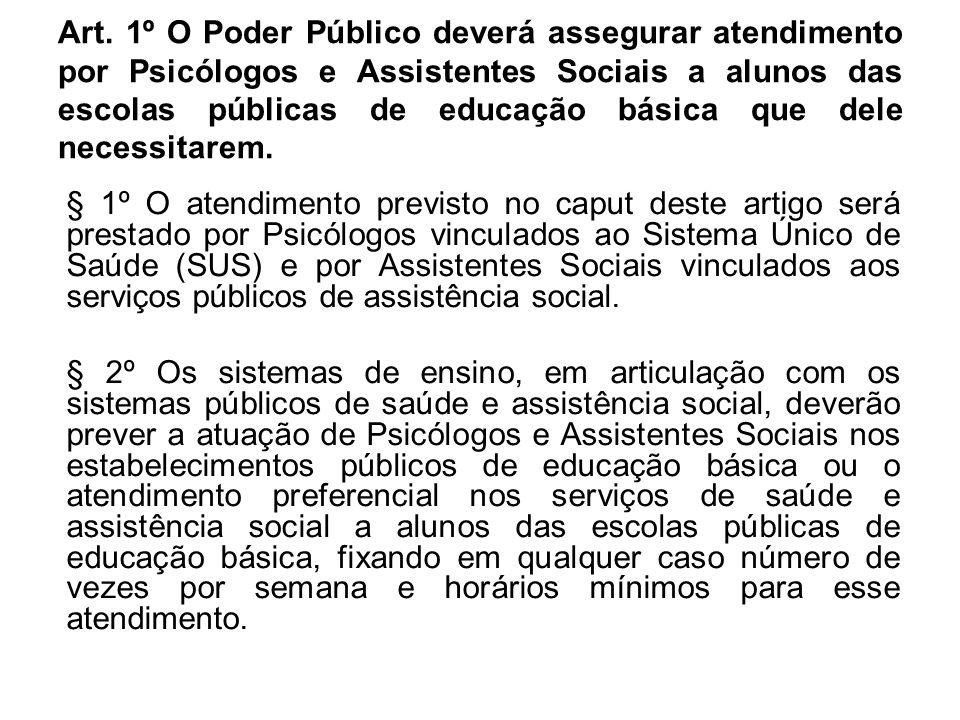 Art. 1º O Poder Público deverá assegurar atendimento por Psicólogos e Assistentes Sociais a alunos das escolas públicas de educação básica que dele necessitarem.
