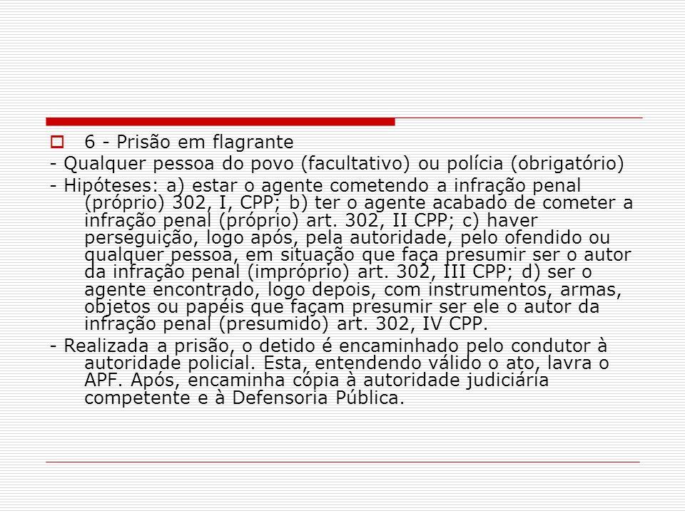 6 - Prisão em flagrante - Qualquer pessoa do povo (facultativo) ou polícia (obrigatório)