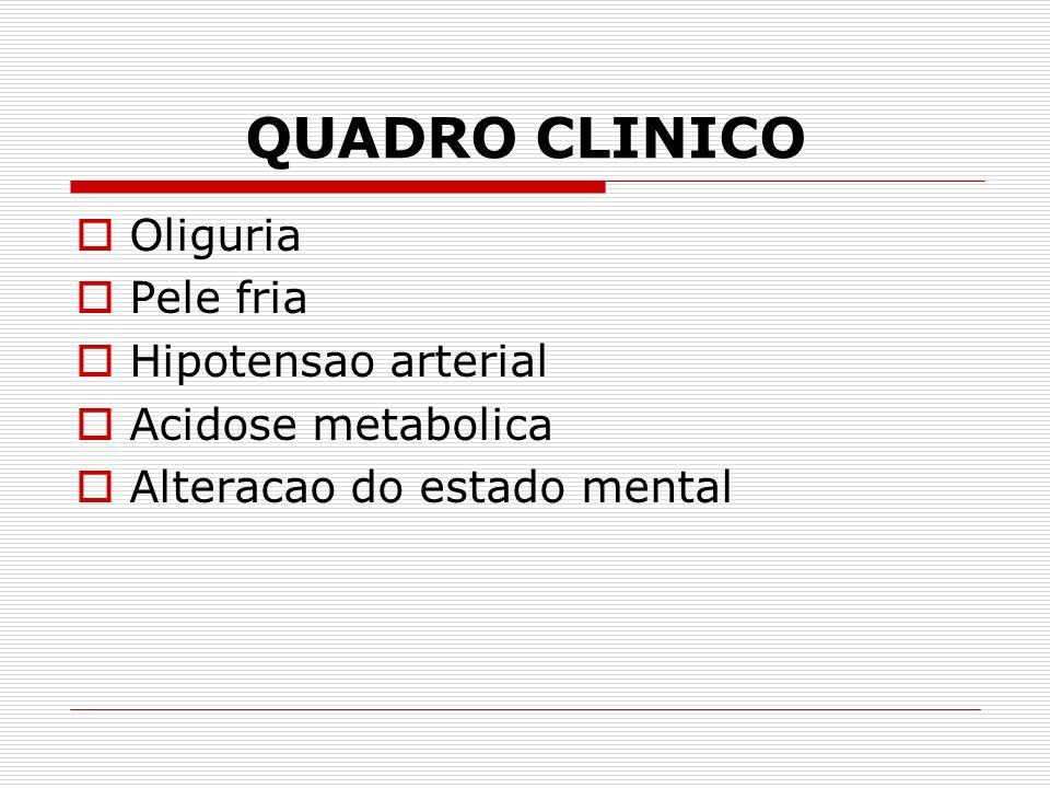 QUADRO CLINICO Oliguria Pele fria Hipotensao arterial