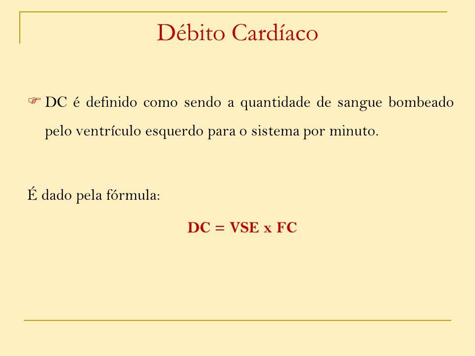 Débito CardíacoDC é definido como sendo a quantidade de sangue bombeado pelo ventrículo esquerdo para o sistema por minuto.
