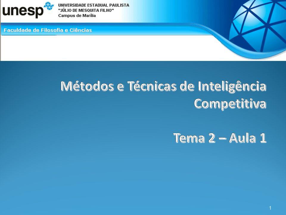 Métodos e Técnicas de Inteligência Competitiva Tema 2 – Aula 1