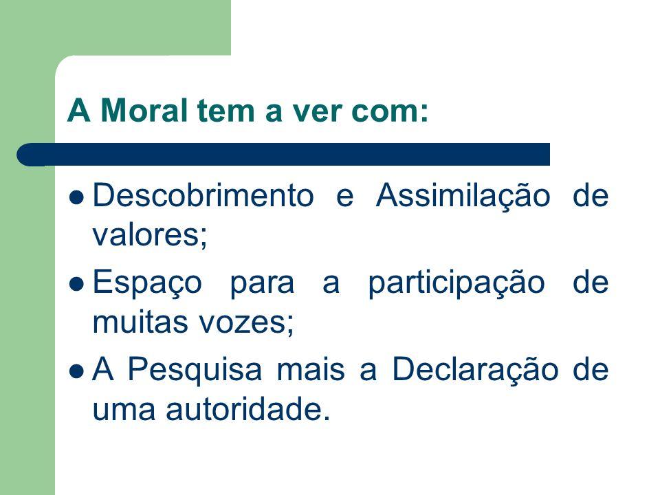A Moral tem a ver com: Descobrimento e Assimilação de valores; Espaço para a participação de muitas vozes;