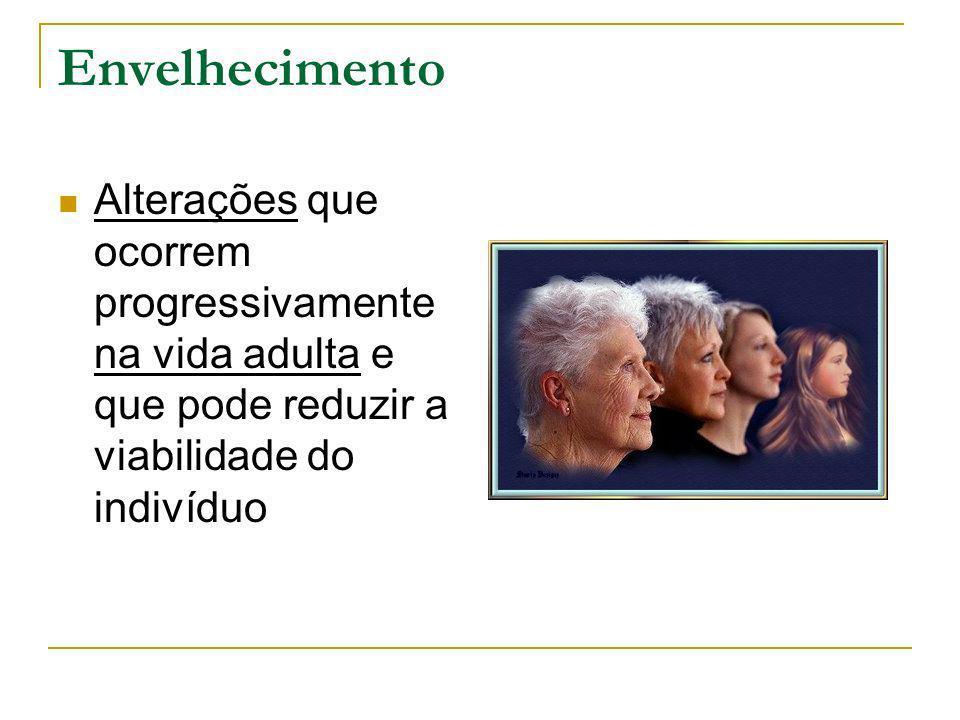 Envelhecimento Alterações que ocorrem progressivamente na vida adulta e que pode reduzir a viabilidade do indivíduo.