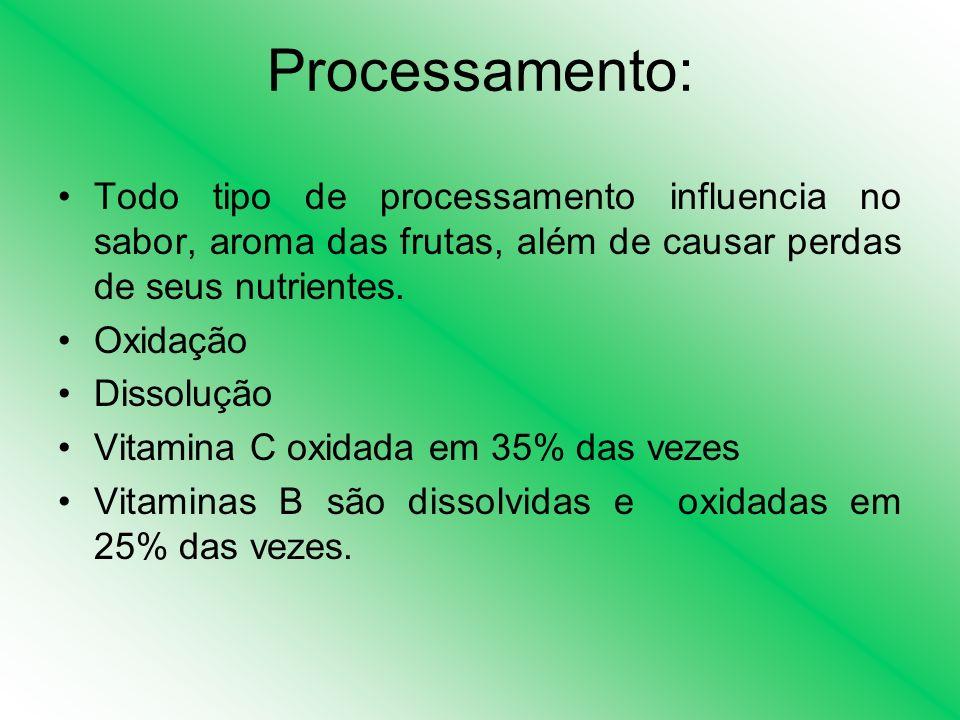 Processamento: Todo tipo de processamento influencia no sabor, aroma das frutas, além de causar perdas de seus nutrientes.