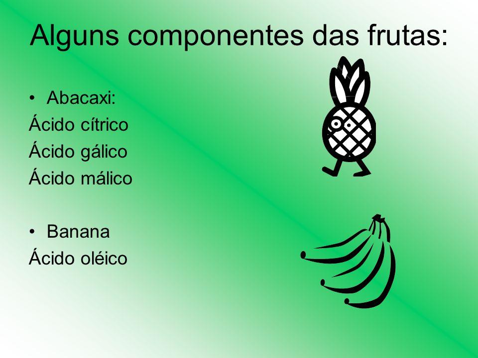 Alguns componentes das frutas: