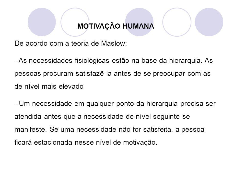 MOTIVAÇÃO HUMANA De acordo com a teoria de Maslow: