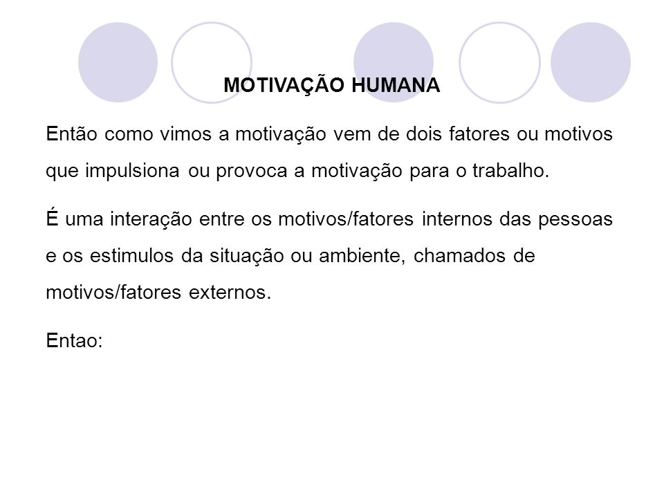 MOTIVAÇÃO HUMANA Então como vimos a motivação vem de dois fatores ou motivos que impulsiona ou provoca a motivação para o trabalho.