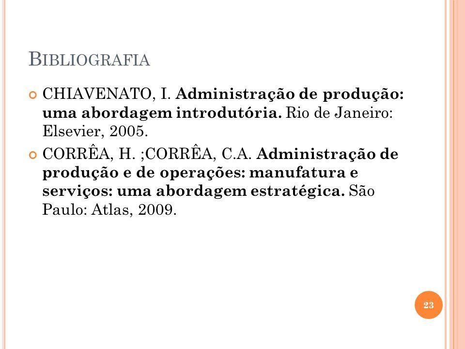 BibliografiaCHIAVENATO, I. Administração de produção: uma abordagem introdutória. Rio de Janeiro: Elsevier, 2005.