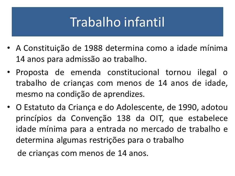 Trabalho infantil A Constituição de 1988 determina como a idade mínima 14 anos para admissão ao trabalho.