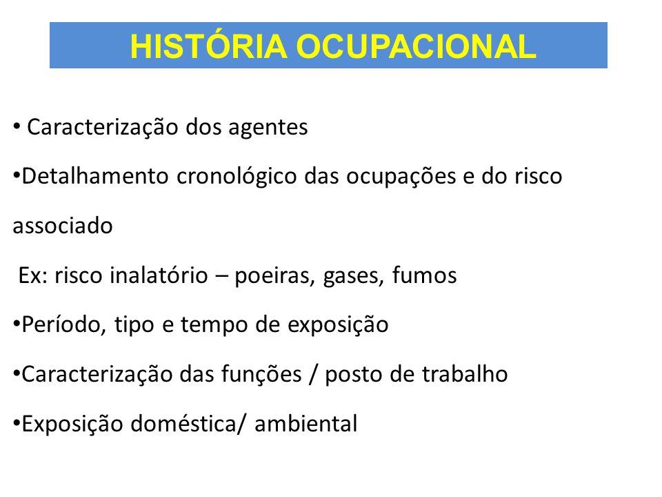 HISTÓRIA OCUPACIONAL Caracterização dos agentes