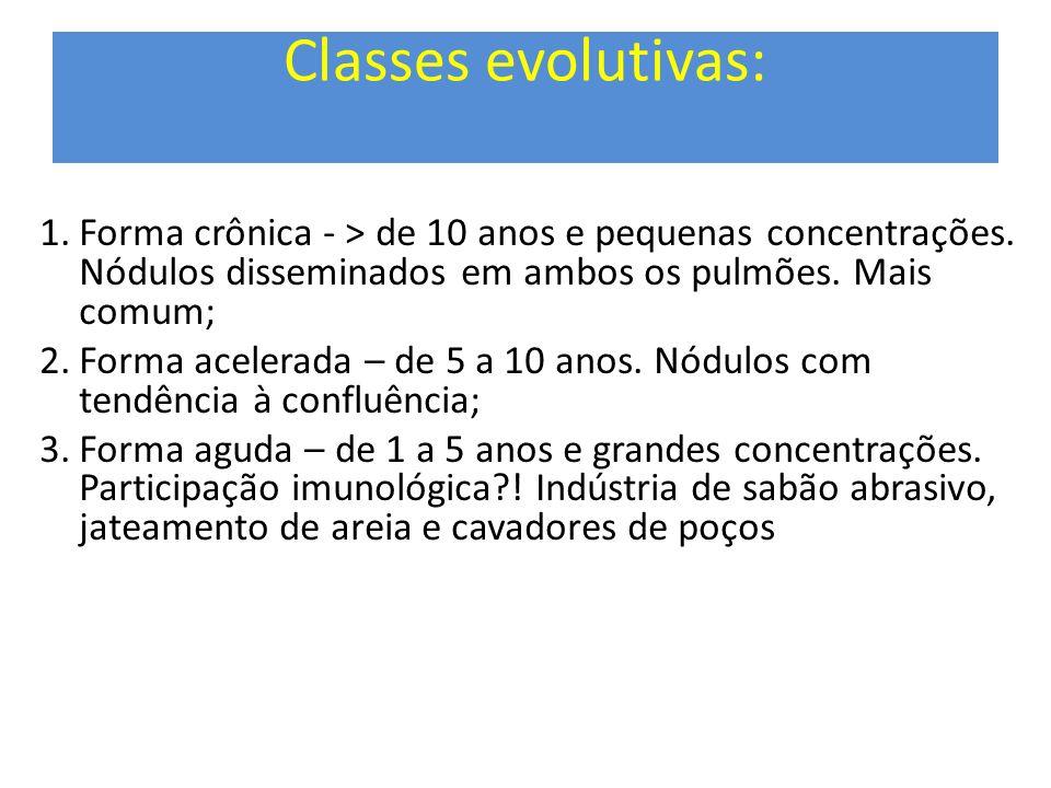 Classes evolutivas: Forma crônica - > de 10 anos e pequenas concentrações. Nódulos disseminados em ambos os pulmões. Mais comum;