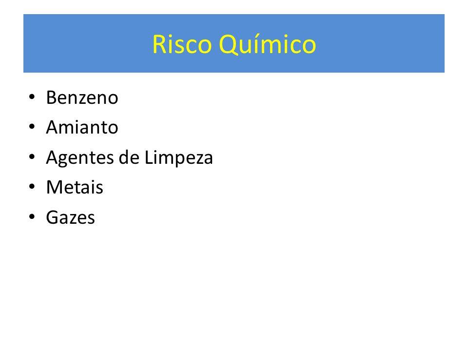 Risco Químico Benzeno Amianto Agentes de Limpeza Metais Gazes