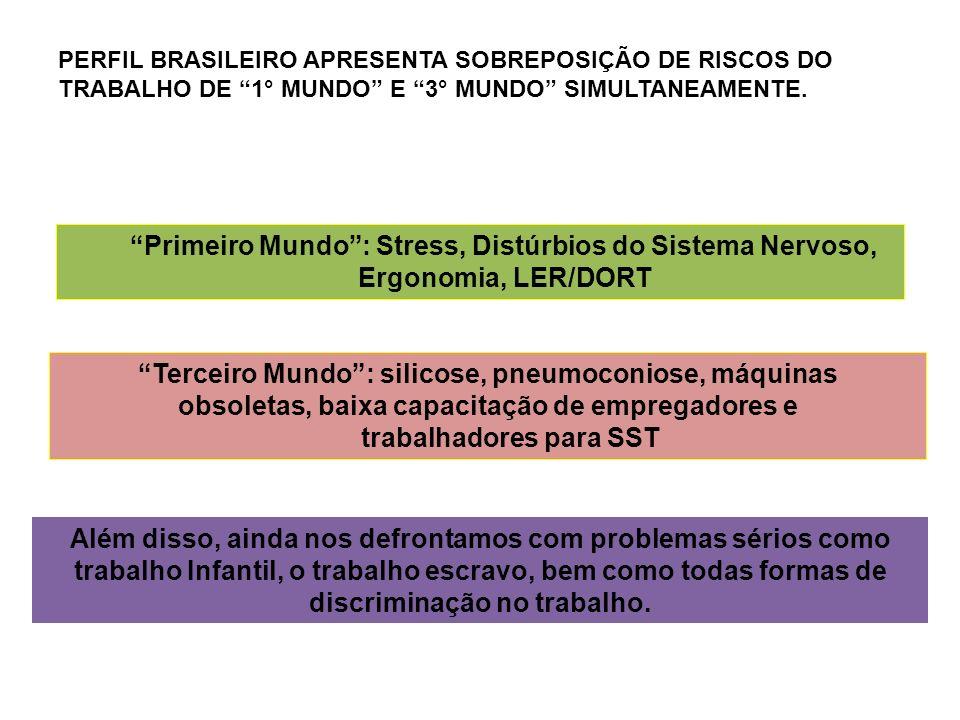 PERFIL BRASILEIRO APRESENTA SOBREPOSIÇÃO DE RISCOS DO TRABALHO DE 1° MUNDO E 3° MUNDO SIMULTANEAMENTE.