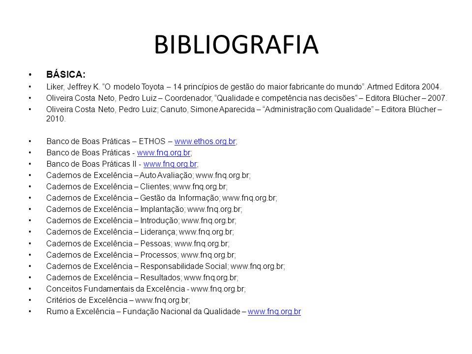 BIBLIOGRAFIA BÁSICA: Liker, Jeffrey K. O modelo Toyota – 14 princípios de gestão do maior fabricante do mundo . Artmed Editora 2004.