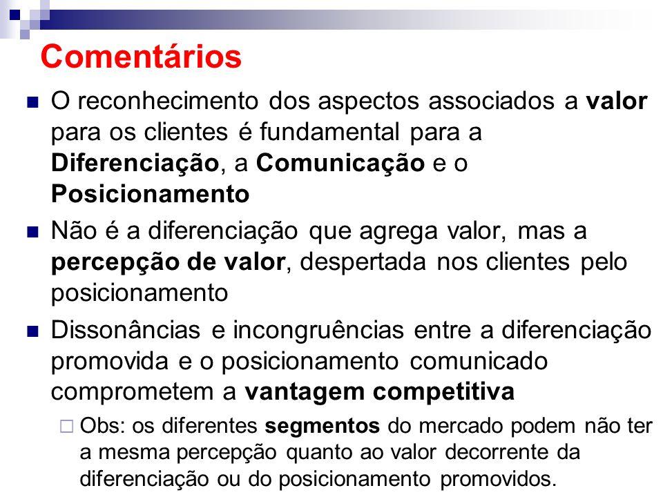 Comentários O reconhecimento dos aspectos associados a valor para os clientes é fundamental para a Diferenciação, a Comunicação e o Posicionamento.