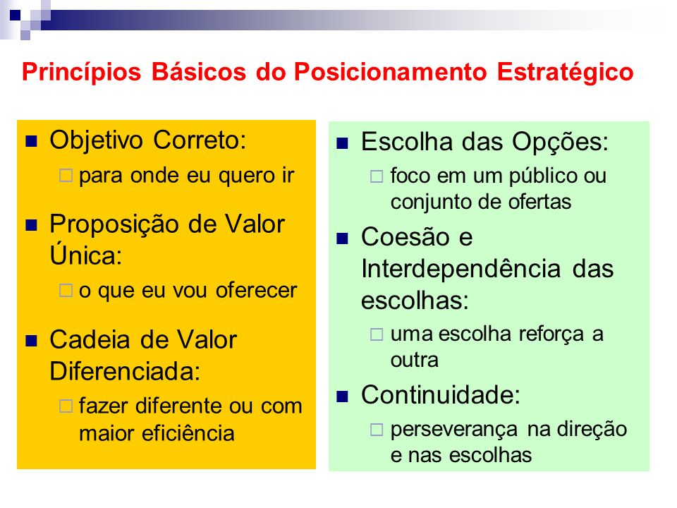 Princípios Básicos do Posicionamento Estratégico