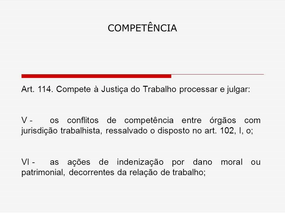 COMPETÊNCIA Art. 114. Compete à Justiça do Trabalho processar e julgar: