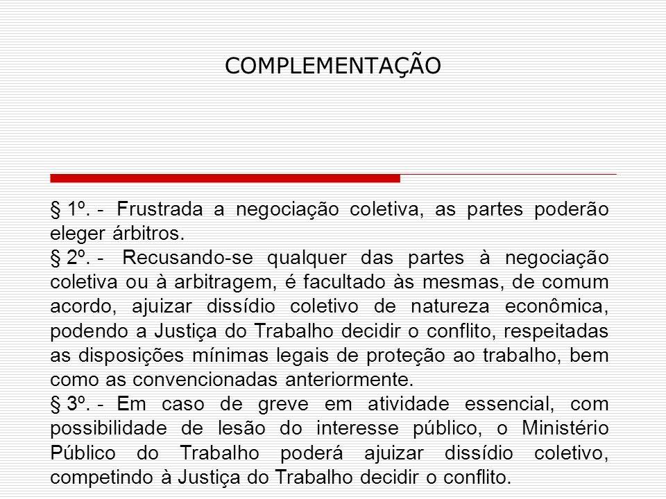 COMPLEMENTAÇÃO § 1º. - Frustrada a negociação coletiva, as partes poderão eleger árbitros.