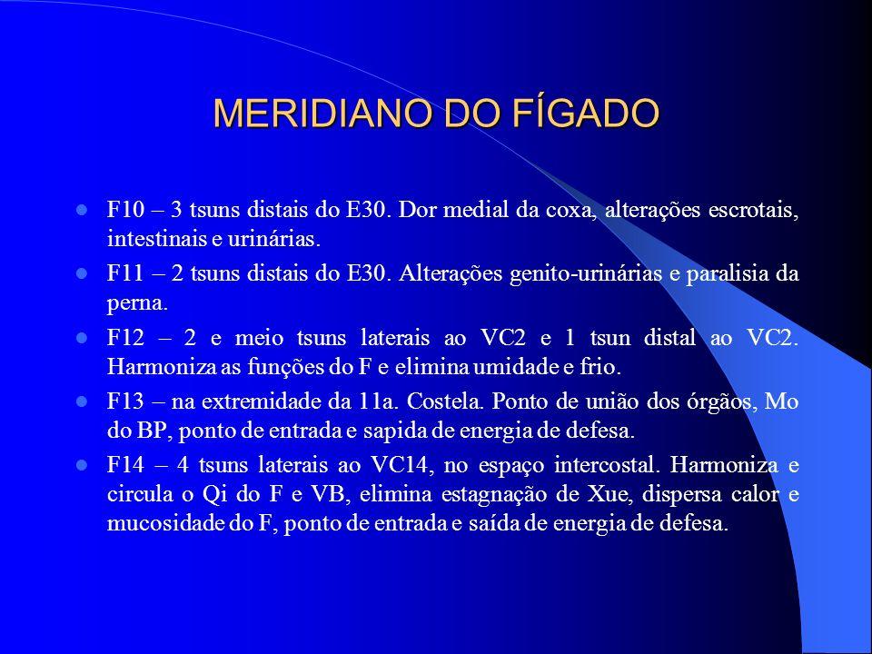 MERIDIANO DO FÍGADO F10 – 3 tsuns distais do E30. Dor medial da coxa, alterações escrotais, intestinais e urinárias.