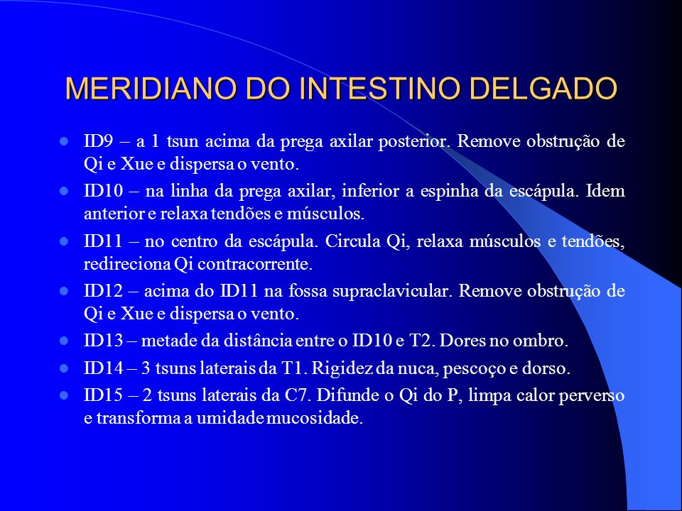MERIDIANO DO INTESTINO DELGADO