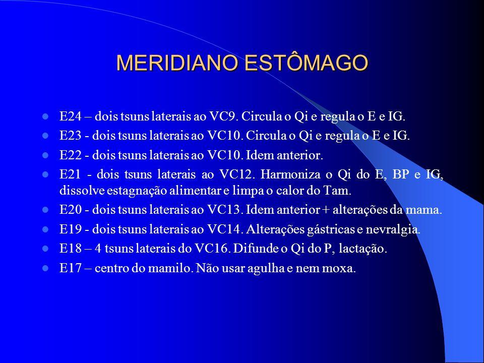 MERIDIANO ESTÔMAGO E24 – dois tsuns laterais ao VC9. Circula o Qi e regula o E e IG.
