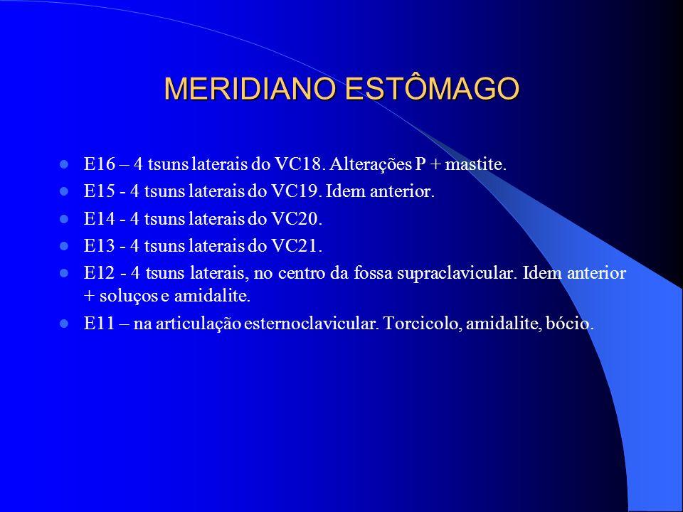 MERIDIANO ESTÔMAGO E16 – 4 tsuns laterais do VC18. Alterações P + mastite. E15 - 4 tsuns laterais do VC19. Idem anterior.