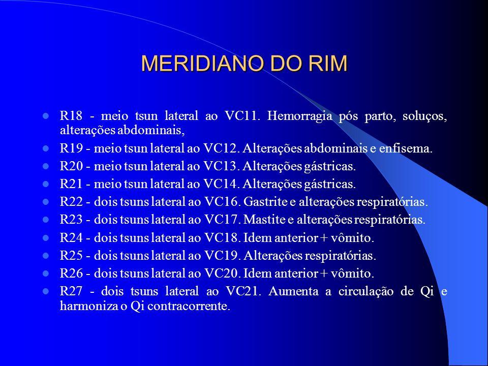 MERIDIANO DO RIM R18 - meio tsun lateral ao VC11. Hemorragia pós parto, soluços, alterações abdominais,