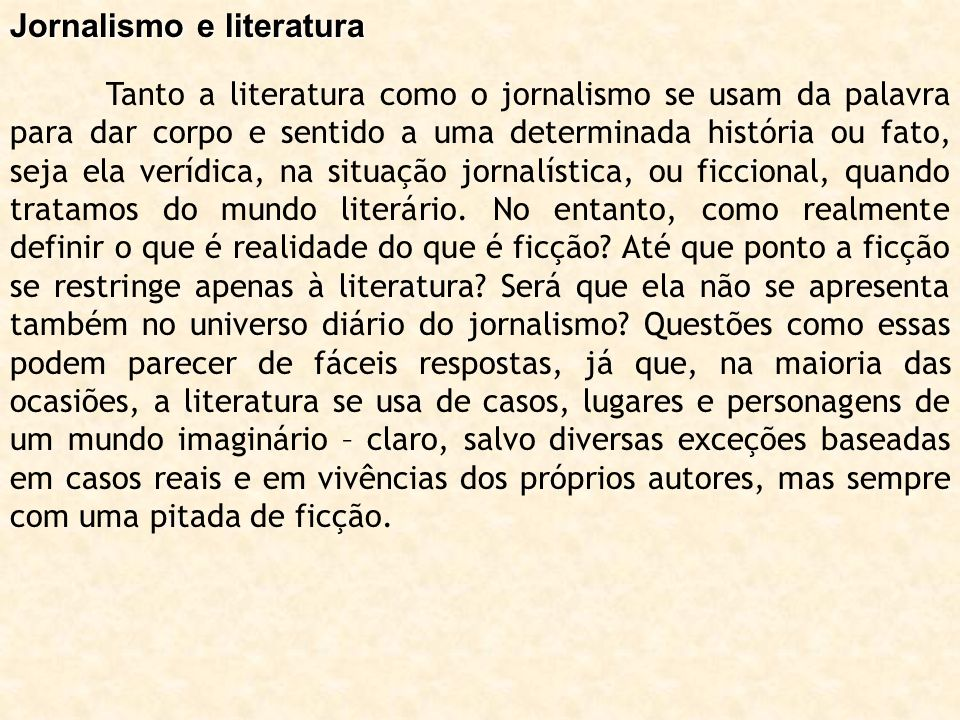 Jornalismo e literatura