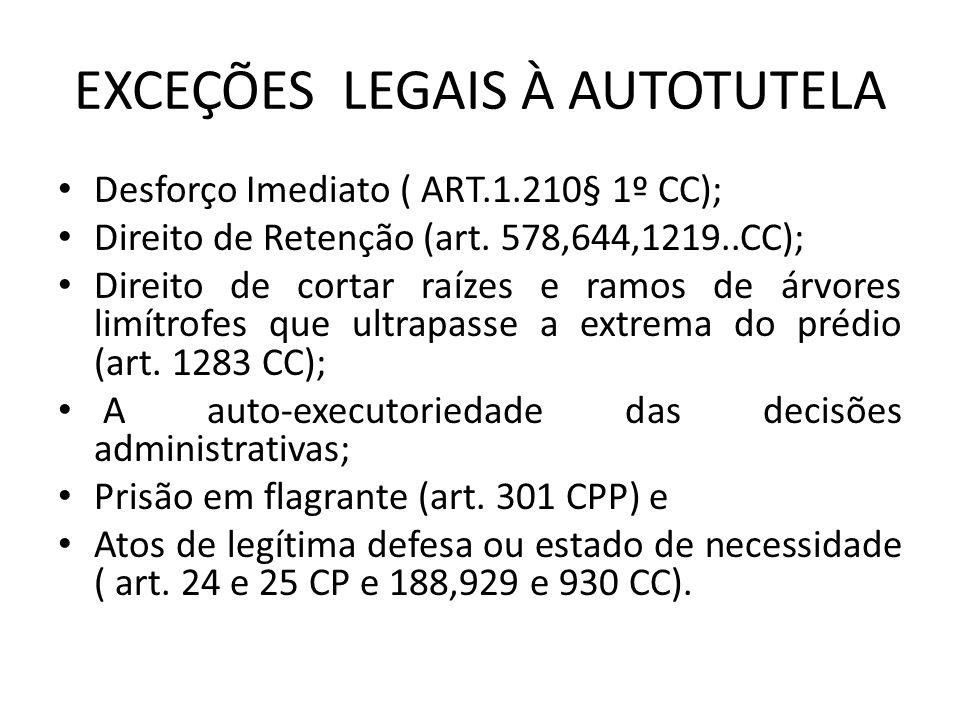 EXCEÇÕES LEGAIS À AUTOTUTELA