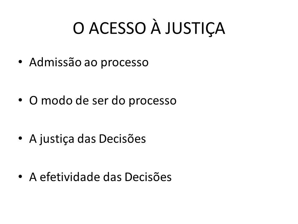 O ACESSO À JUSTIÇA Admissão ao processo O modo de ser do processo