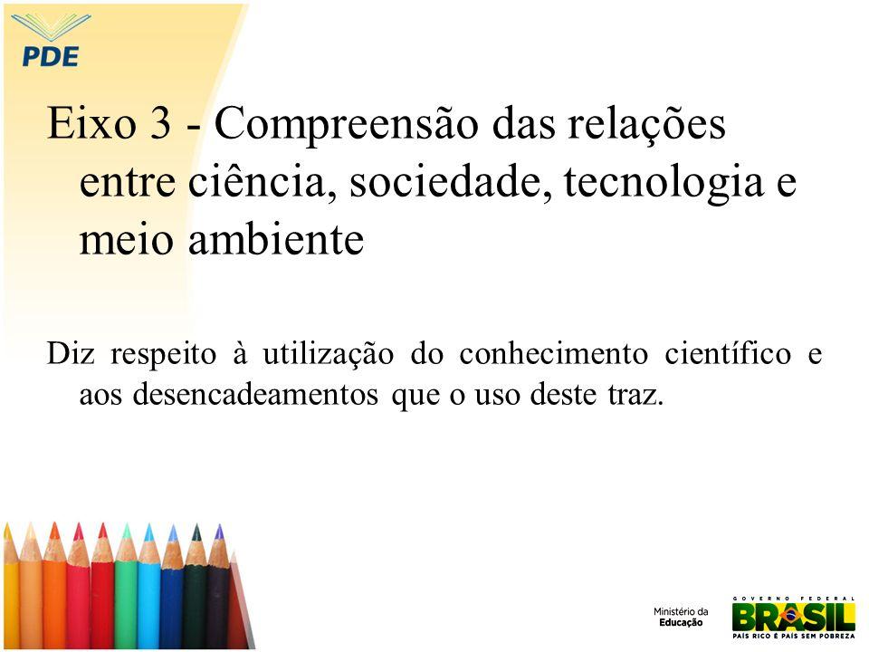 Eixo 3 - Compreensão das relações entre ciência, sociedade, tecnologia e meio ambiente