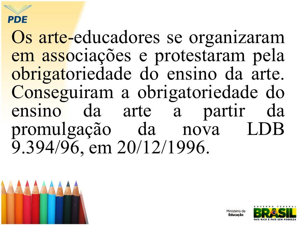 Os arte-educadores se organizaram em associações e protestaram pela obrigatoriedade do ensino da arte.