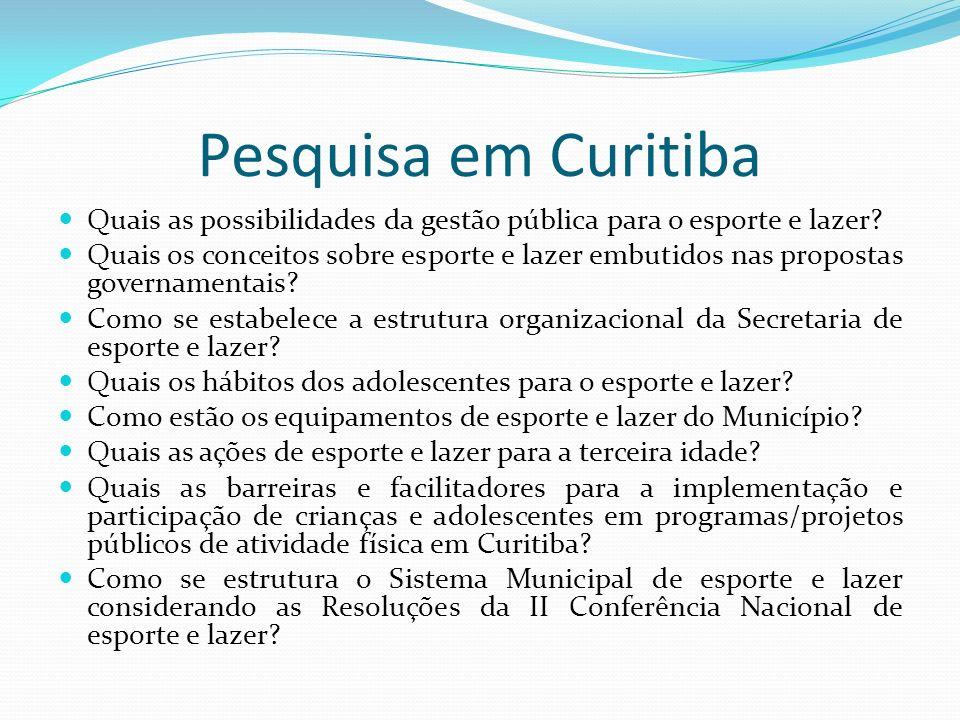 Pesquisa em Curitiba Quais as possibilidades da gestão pública para o esporte e lazer