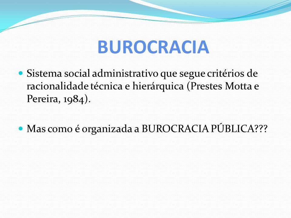 BUROCRACIA Sistema social administrativo que segue critérios de racionalidade técnica e hierárquica (Prestes Motta e Pereira, 1984).