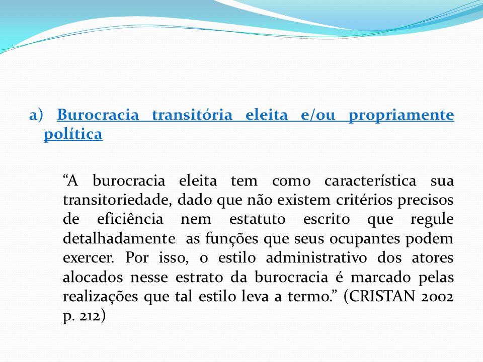 a) Burocracia transitória eleita e/ou propriamente política