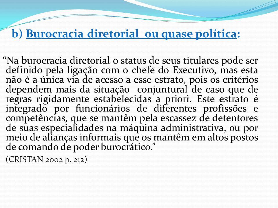 b) Burocracia diretorial ou quase política: