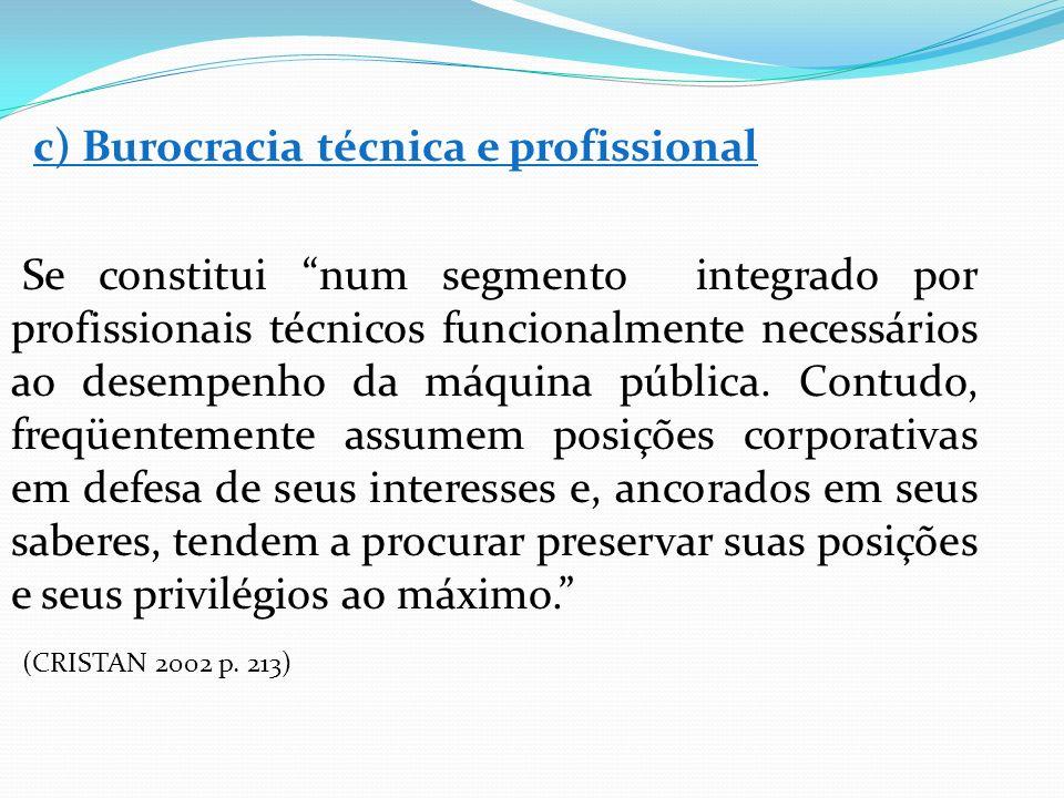 c) Burocracia técnica e profissional