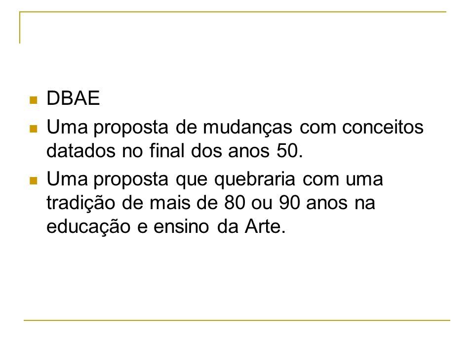 DBAE Uma proposta de mudanças com conceitos datados no final dos anos 50.