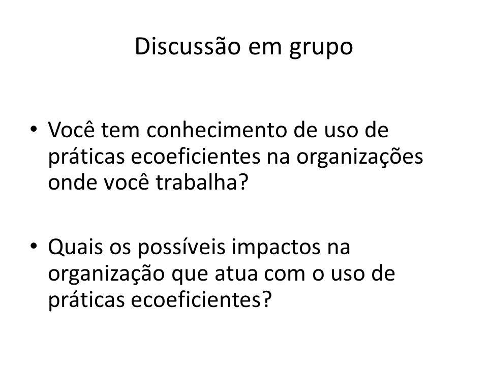 Discussão em grupo Você tem conhecimento de uso de práticas ecoeficientes na organizações onde você trabalha