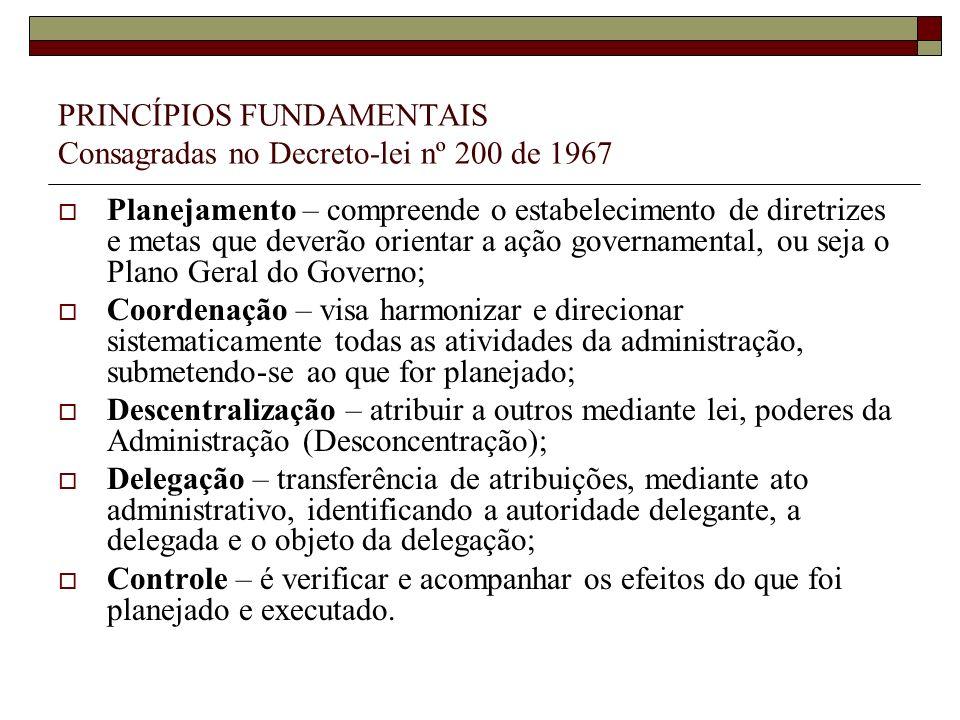 PRINCÍPIOS FUNDAMENTAIS Consagradas no Decreto-lei nº 200 de 1967