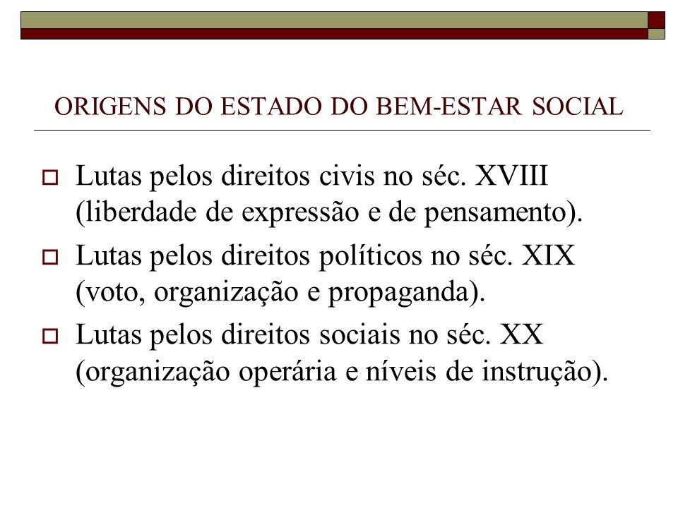 ORIGENS DO ESTADO DO BEM-ESTAR SOCIAL