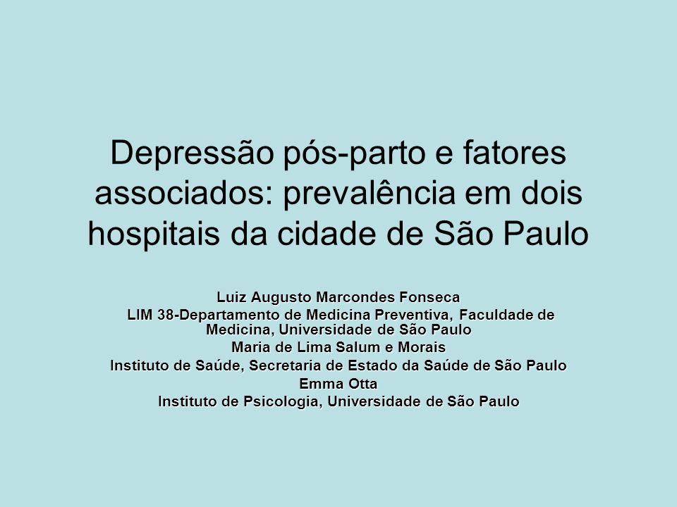 Depressão pós-parto e fatores associados: prevalência em dois hospitais da cidade de São Paulo