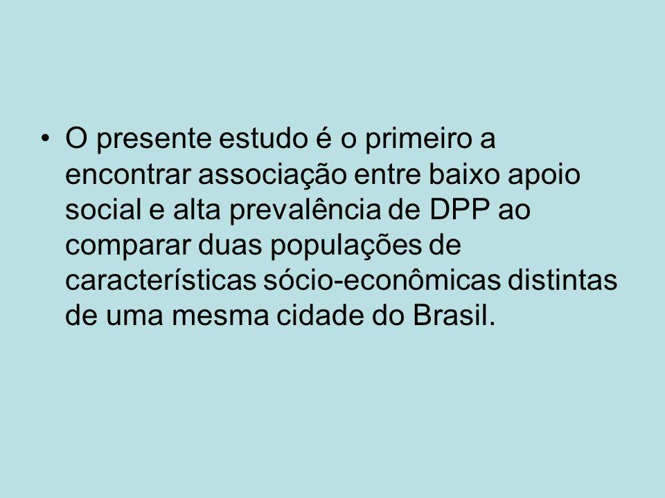 O presente estudo é o primeiro a encontrar associação entre baixo apoio social e alta prevalência de DPP ao comparar duas populações de características sócio-econômicas distintas de uma mesma cidade do Brasil.