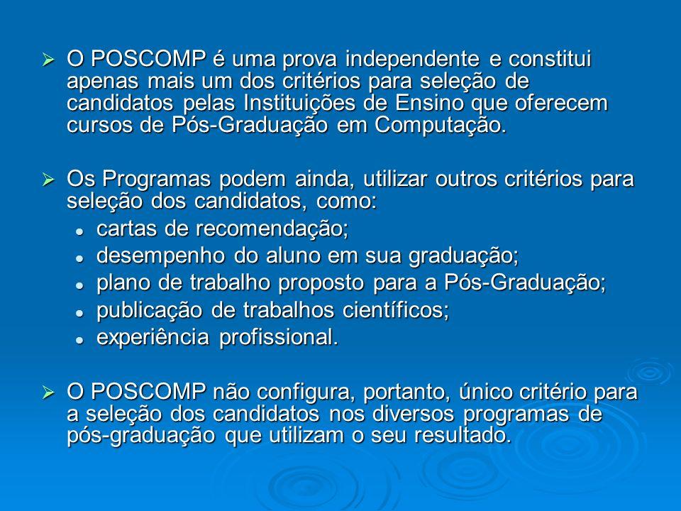 O POSCOMP é uma prova independente e constitui apenas mais um dos critérios para seleção de candidatos pelas Instituições de Ensino que oferecem cursos de Pós-Graduação em Computação.